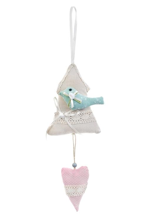 Украшение декоративное Птичкин домПодарки на 8 марта<br>29*10см, текстиль, крем.-розовое, подвесное<br>