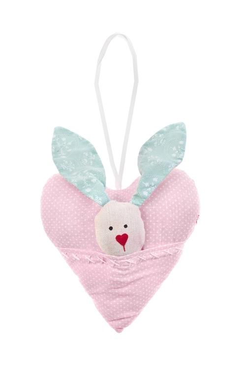 Украшение декоративное Зайка в сердцеИгрушки и куклы<br>15*15см, текстиль, розово-мятное, подвесное<br>