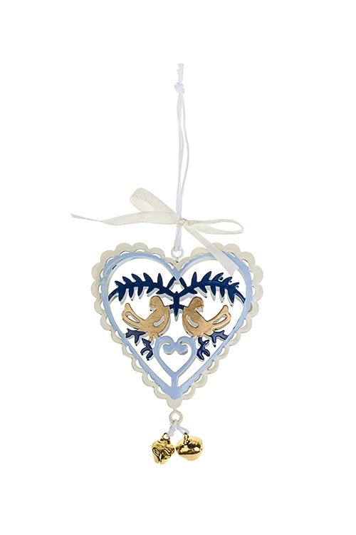 Украшение декоративное СердечкоСувениры и упаковка<br>Выс=9см, металл, сине-голубо-золот., подвесное (3 вида)<br>