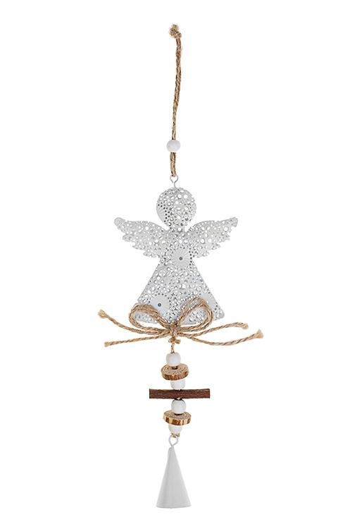 Украшение декоративное Кружевной ангелСувениры и упаковка<br>Выс=21см, металл, дерево, бело-крем., подвесное<br>