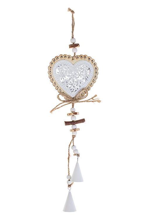 Украшение декоративное Сердце с колокольчикамиДекоративные гирлянды и подвески<br>Выс=33см, металл, дерево, бело-крем., подвесное<br>