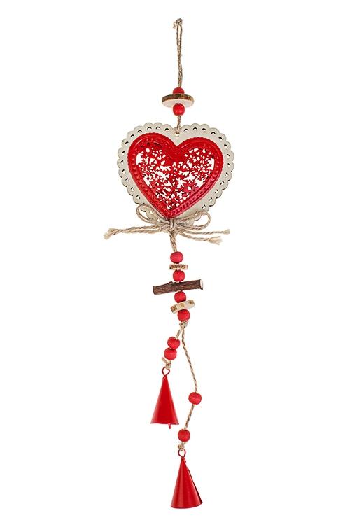 Украшение декоративное Сердце с колокольчикамиСувениры и упаковка<br>Выс=33см, металл, дерево, красно-крем., подвесное<br>