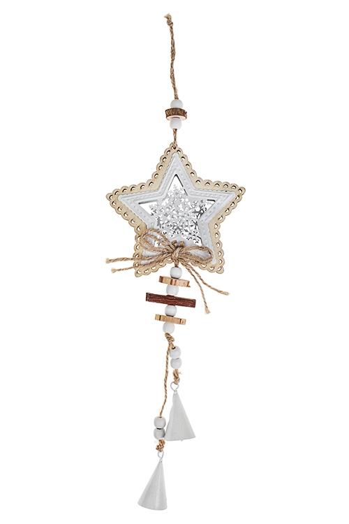 Украшение декоративное Звезда с колокольчикамиСувениры и упаковка<br>Выс=33см, металл, дерево, крем.-белое, подвесное<br>