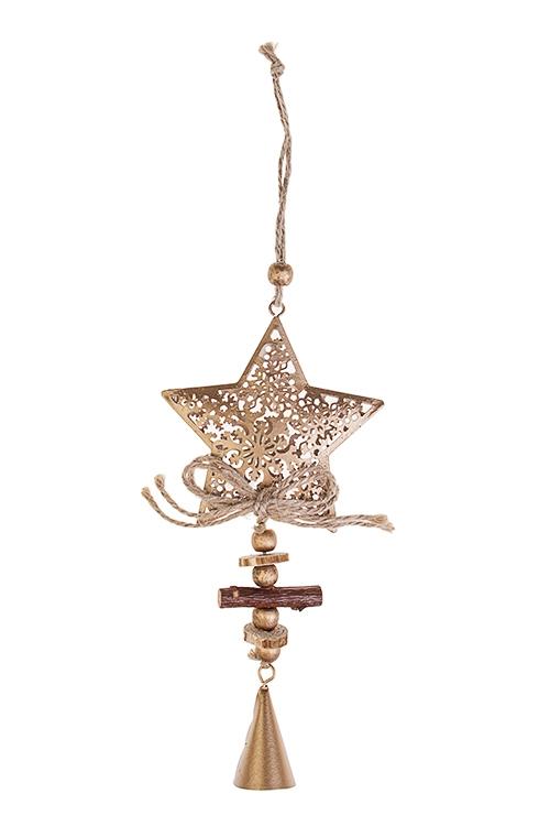Украшение декоративное Звезда со снежным узоромСувениры и упаковка<br>Выс=20см, металл, дерево, золот., подвесное<br>