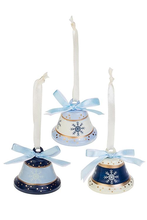 Набор колокольчиков декоративных Яркие колокольчикиСувениры и упаковка<br>3-предм., Выс=4.5см, металл, крем.-сине-голубой, подвесной<br>