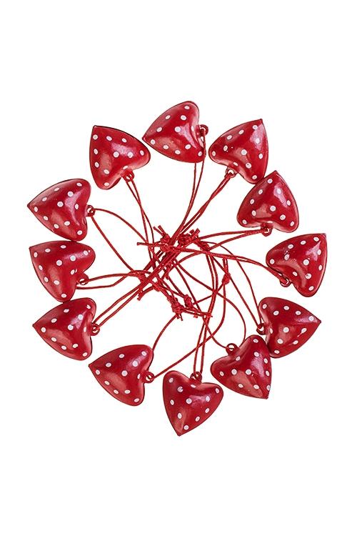 Набор украшений декоративных Сердца в горошекСувениры и упаковка<br>12-предм., Выс=2.5см, металл, красный, подвесной<br>