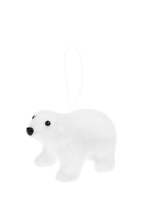 Украшение декоративное Белый мишкаДекоративные гирлянды и подвески<br>12*8*7см, пенопласт, текстиль, белое, подвесное<br>