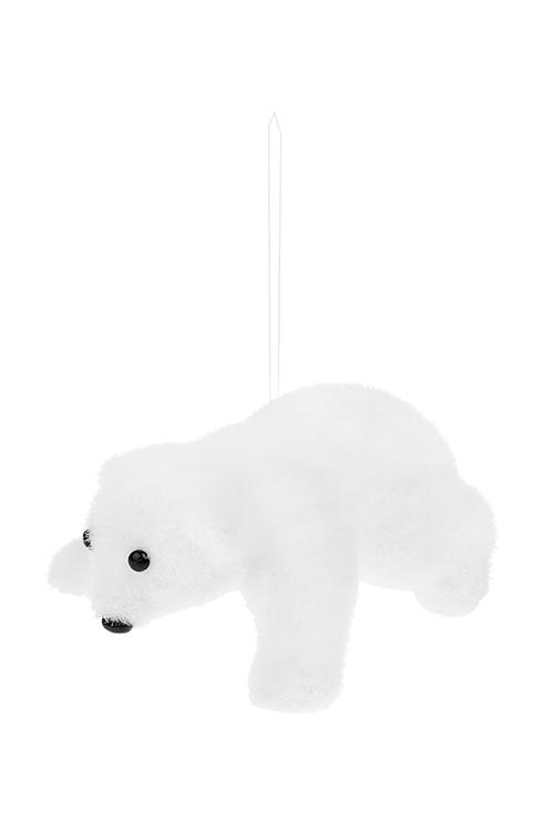 Украшение декоративное Белый мишкаСувениры и упаковка<br>17*12*9см, пенопласт, текстиль, белое, подвесное (2 вида)<br>