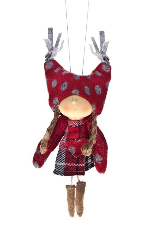 Кукла декоративная Девочка в клетч. платьеИгрушки и куклы<br>Выс=15см, полирезин, текстиль, кр-серо-беж, подвес (2 вида)<br>