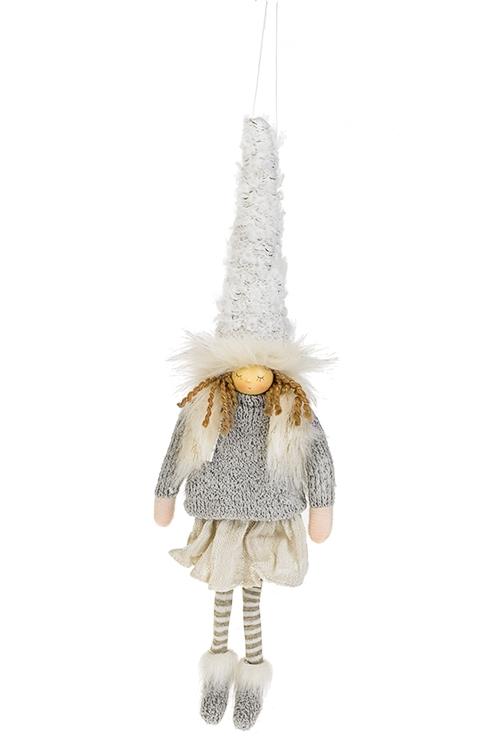 Кукла декоративная Малышка в колпакеКуклы<br>Дл=33см, полирезин, текстиль, крем.-серая, подвесная<br>