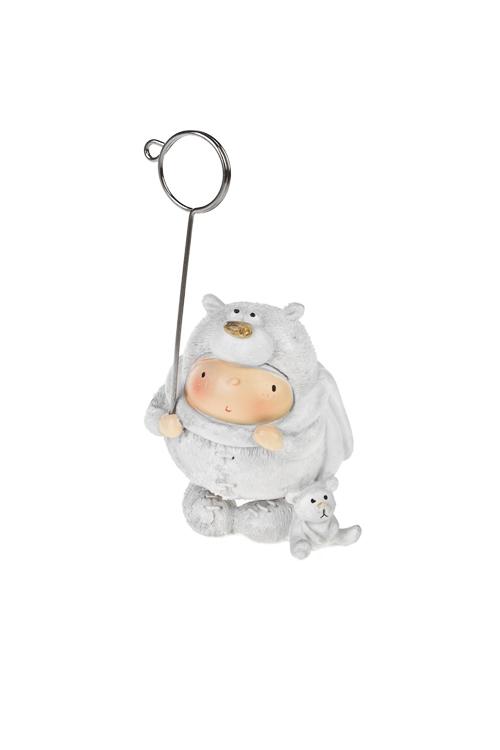 Держатель для фото Забавный малышИнтерьер<br>Выс=12см, полирезин, бело-серебр. (4 вида)<br>