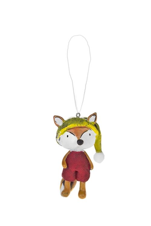 Украшение декоративное ЛисенокЕлочные игрушки<br>Выс=9.5см, полирезин, красно-оранж.-зеленое, подвесное (2 вида)<br>
