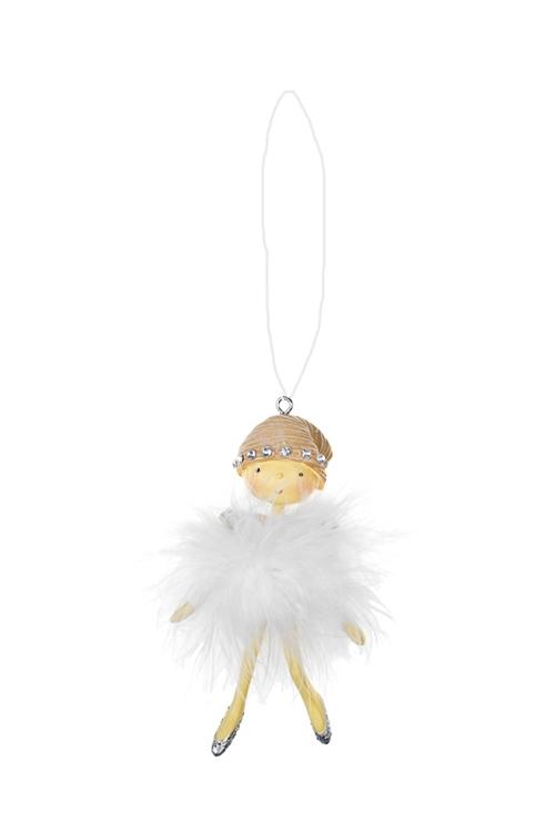 Украшение декоративное Малышка в пушистом платьеПодарки<br>Выс=10см, полирезин, белое, подвесное (2 вида)<br>