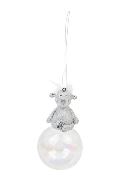Украшение декоративное МишкаЕлочные игрушки<br>Выс=11см, полирезин, стекло, белое, подвесное<br>