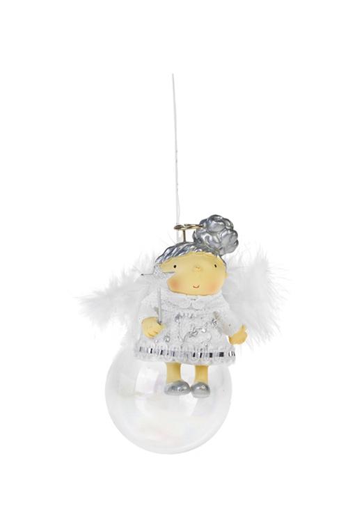Украшение декоративное Ангелок на шареПодарки<br>Выс=11см, полирезин, стекло, бело-серебр., подвесное (2 вида)<br>