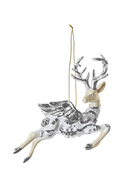Украшение декоративное Счастливый оленьЕлочные игрушки<br>13*11см, полирезин, бело-серебр., подвесное<br>