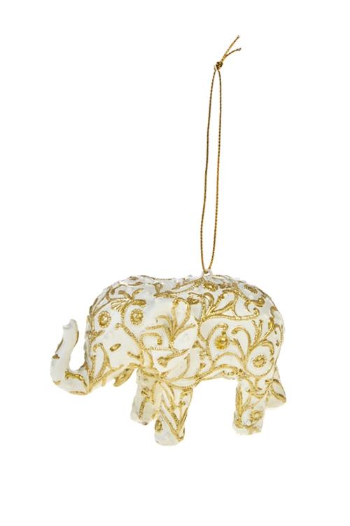 Украшение декоративное Королевский слонПодарки на Новый год 2018<br>7*11см, полирезин, крем.-золот., подвесное<br>