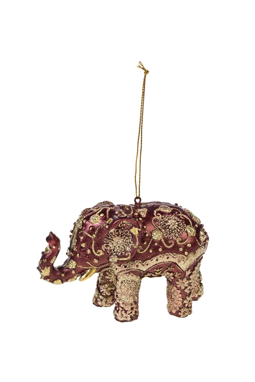 Украшение декоративное Слон с узорамиПодарки на Новый год 2018<br>7*11см, полирезин, борд.-золот., подвесное<br>