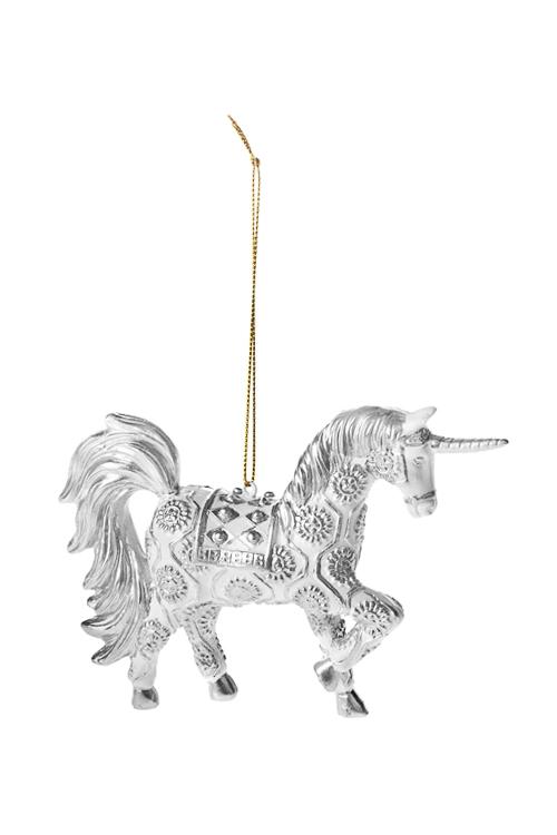 Украшение декоративное Волшебный единорогЕлочные игрушки<br>14*10см, полирезин, бело-серебр., подвесное<br>