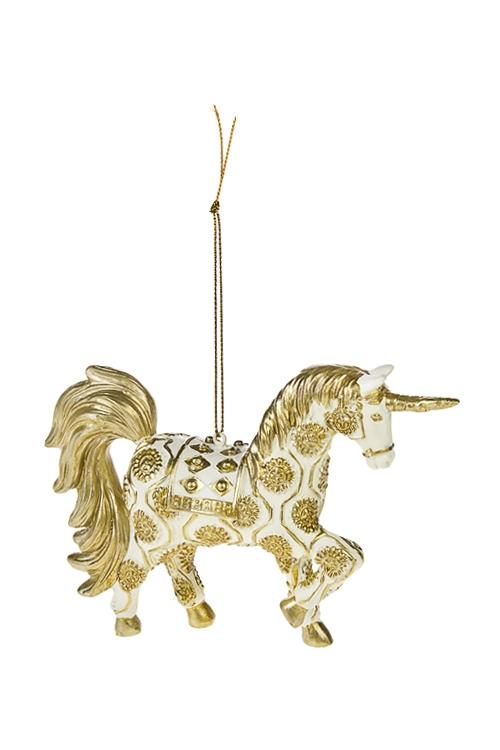 Украшение декоративное Волшебный единорогЕлочные игрушки<br>14*10см, полирезин, крем.-золот., подвесное<br>