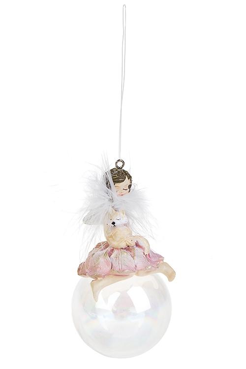 Украшение декоративное Лесная фея на шареДекоративные гирлянды и подвески<br>7*6*11см, полирезин, стекло, розовое, подвесное (2 вида)<br>