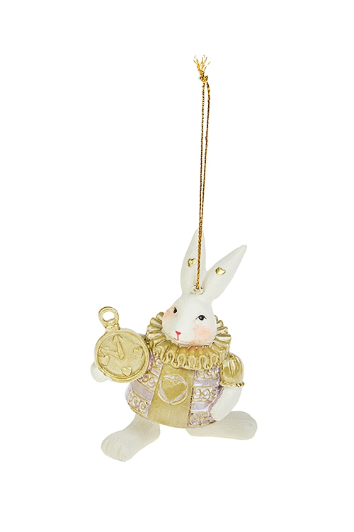 Украшение декоративное Белый кроликЕлочные игрушки<br>9*6см, полирезин, крем.-розово-золот., подвесное<br>