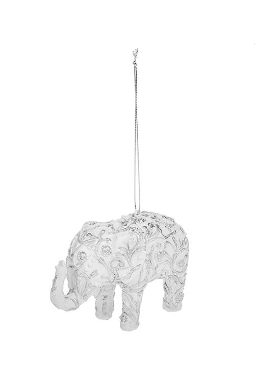 Украшение декоративное Ажурный слонПодарки на Новый год 2018<br>7*11см, полирезин, бело-серебр., подвесное<br>