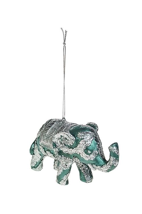 Украшение декоративное Королевский слонПодарки на Новый год 2018<br>7*12см, полирезин, изумрудно-серебр., подвесное<br>