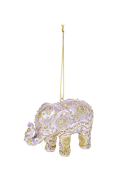 Украшение декоративное Слон с узорамиЕлочные игрушки<br>7*11см, полирезин, розово-золот., подвесное<br>