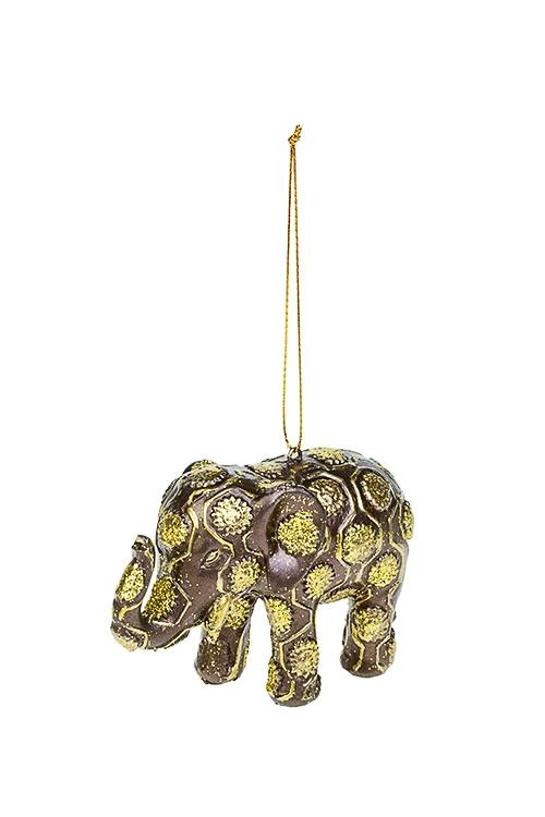 Украшение декоративное Индийский слонЕлочные игрушки<br>7*12см, полирезин, коричн.-золот., подвесное<br>