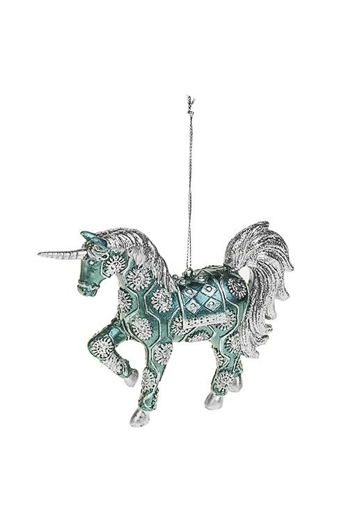 Украшение декоративное Волшебный единорогЕлочные игрушки<br>14*10см, полирезин, изумрудно-серебр., подвесное<br>