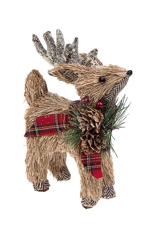 Украшение для интерьера Бэмби с шотландским бантомПодарки на Новый год 2018<br>12*6*19см, натур. матер., пенопласт<br>