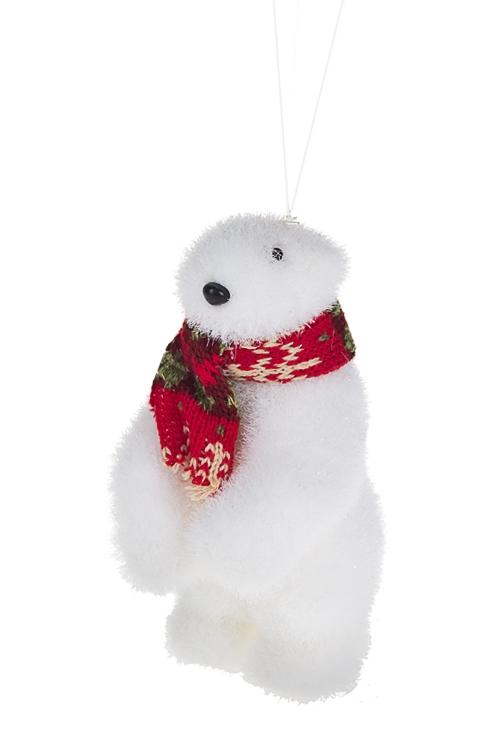 Украшение для интерьера Белый мишка с шарфикомЛесные обитатели<br>12*11*10см, ПВХ, пенопласт, подвесное (2 вида)<br>