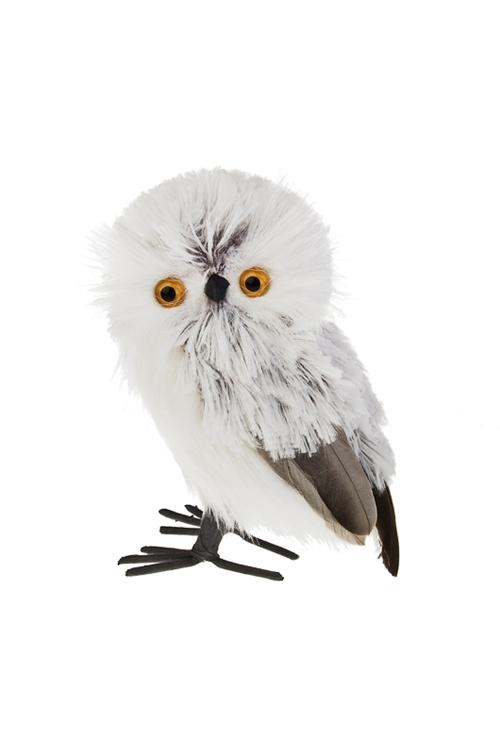 Украшение для интерьера Пушистый совенокПодарки<br>Выс=15см, пенопласт, искусств. мех, бело-серое (2 вида)<br>