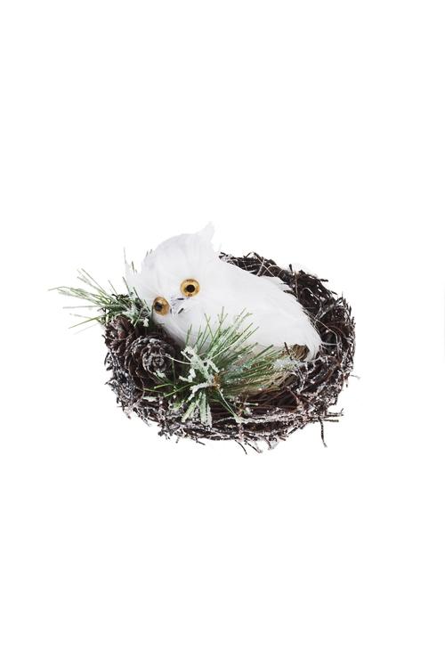 Украшение для интерьера Совушка в гнездеПодарки<br>7*10см, перо, пенопласт<br>