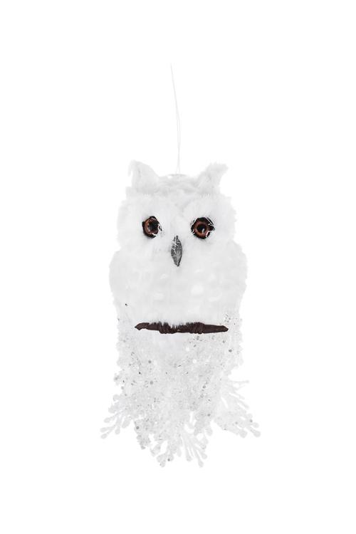Украшение для интерьера Совушка на веткеЕлочные игрушки<br>Дл=20см, пластм., пенопласт, белое, подвесное<br>