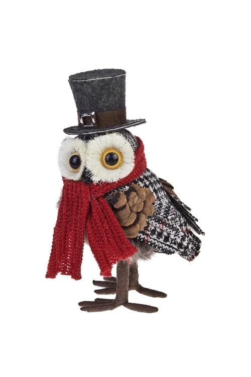 Украшение для интерьера Совушка в шляпеЛесные обитатели<br>9*8*16см, текстиль, пенопласт, серо-красное<br>