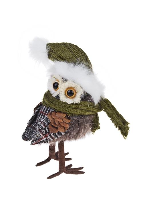 Украшение для интерьера Совушка в шапочке и шарфикеПодарки<br>9*7*16см, текстиль, пенопласт, крем.-зеленое<br>