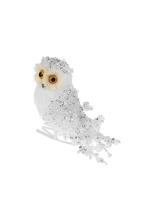 Украшение декоративное Любопытная соваПодарки на Новый год 2018<br>11*12см, пластм., пенопласт, белое<br>