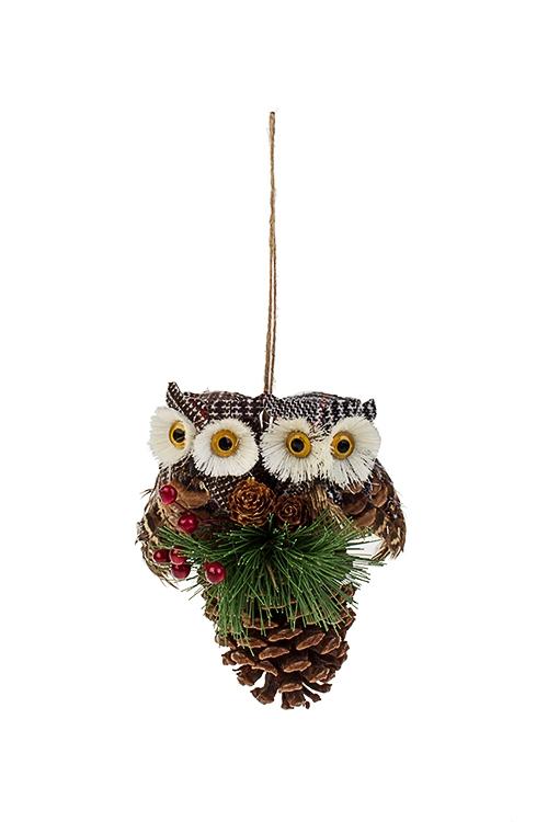 Украшение декоративное Совушки на веточкеПодарки на Новый год 2018<br>9*13*16см, натур. матер., пенопласт, подвесное<br>