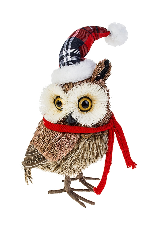 Украшение для интерьера Сова в шапке и шарфикеПодарки на Новый год 2018<br>15*14*25см, натур. матер., пенопласт<br>