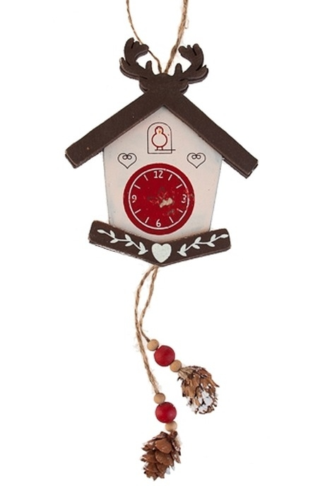 Сувенир Новогодние часыЕлочные игрушки<br>21*9см, дерево, бело-красный, подвесной<br>