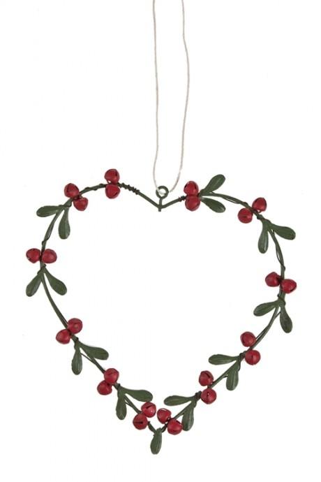 Украшение декоративное Ягодное сердцеМэри<br>Выс=14см, металл, красно-зеленое, подвесное<br>