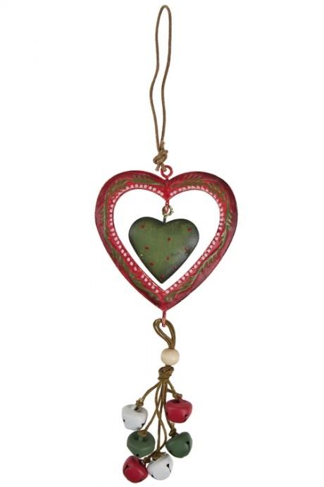 Украшение декоративное Сердце с колокольчикамиПодарки<br>Выс=18см, металл, красно-зеленое, подвесное<br>