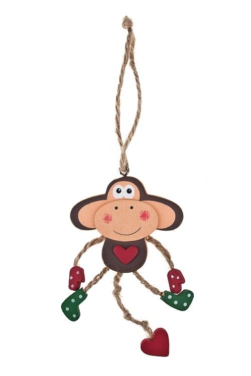 Украшение декоративное Мартышка - малышкаЕлочные игрушки<br>Выс=13см, дерево, красно-зелено-коричн., подвесное<br>