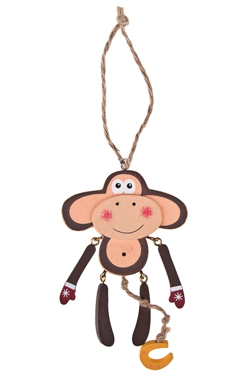 Украшение декоративное Мартышка - счастливая малышкаЕлочные игрушки<br>Выс=13см, дерево, коричн.-крем., подвесное<br>