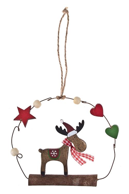 Украшение декоративное Олененок с бантикомЕлочные игрушки<br>15*13см, дерево, подвесное<br>