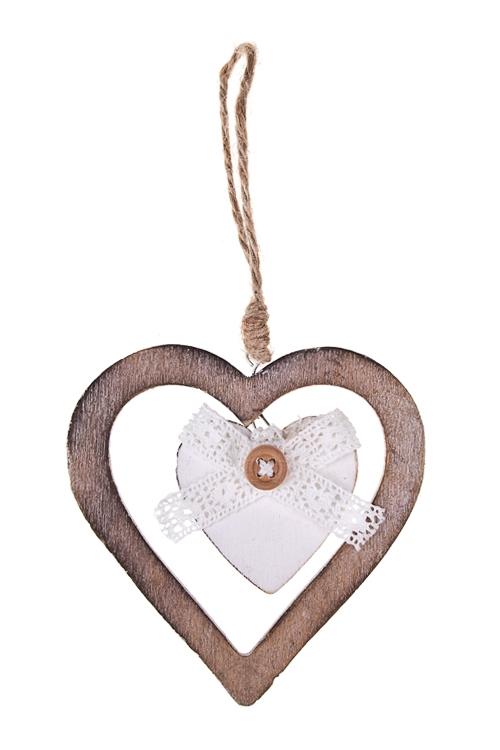Украшение декоративное Двойное сердце с бантикомИнтерьер<br>Выс=10см, дерево, подвесное (3 вида)<br>