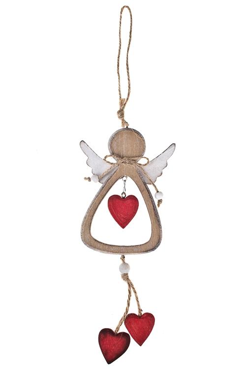 Украшение декоративное Ангелочек с сердечкамиПодарки<br>Выс=22см, дерево, крем.-красное, подвесное<br>