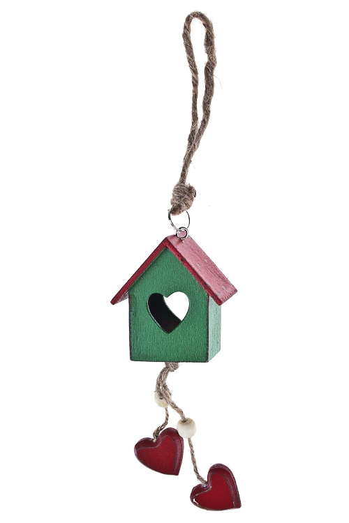 Украшение декоративное Скворечник с сердечкамиПодарки<br>Выс=19см, дерево, красно-зеленое, подвесное (2 вида)<br>